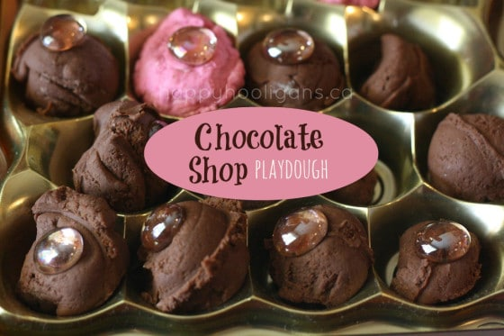 homemade chocolate and strawberry play dough for valentine's day
