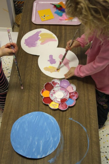 painting our paper plate birds