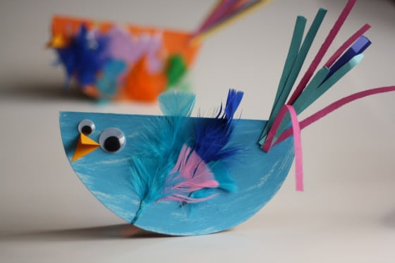 """rocking bird craft"" made from paper plates"