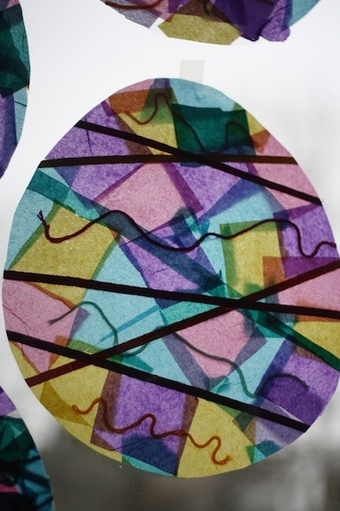 stained glass Easter eggs on window