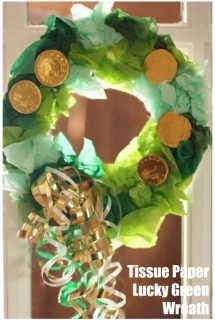 Lucky Green Tissue Paper Wreath for St. Patrick's Day craft