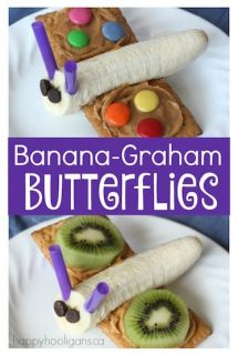 Banana Graham Butterflies - healthy snack for toddlers and preschoolers