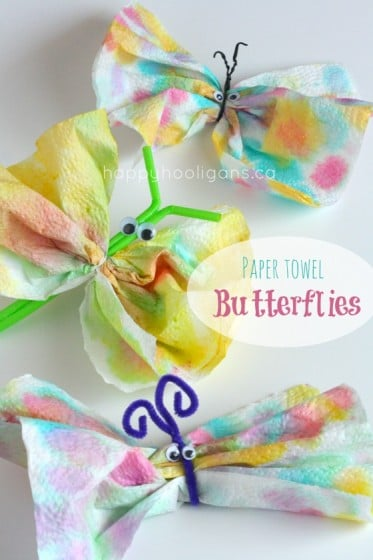 3 paper towel butterfly crafts for kids to make