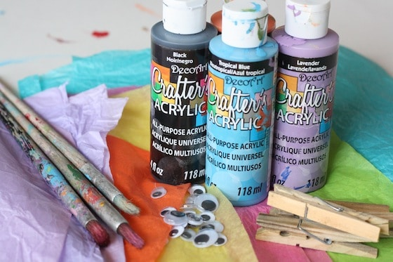 paint, tissue paper, paint brushes, googly eyes for butterfly craft