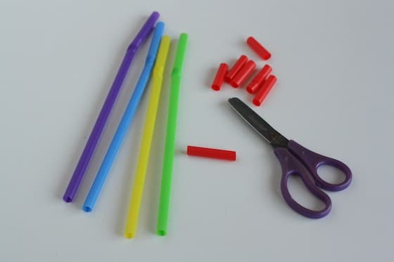 cutting straws to improve scissor skills
