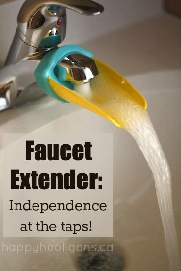This Faucet Extender helps kids reach the taps in the bathroom
