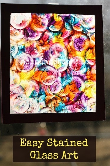 stained glass painting on wax paper - an easy and gorgeous art project for kids by Happy Hooligans