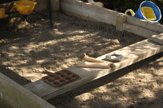 plank for seating and workspace - sandbox ideas