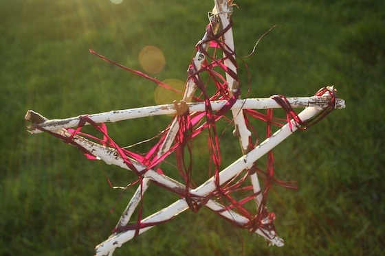 white twig star with pink raffia