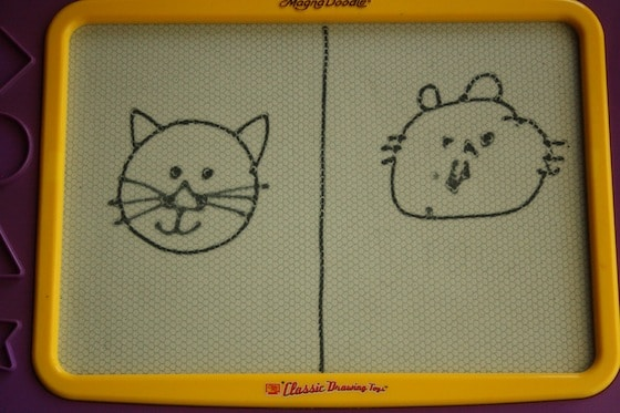 teaching preschoolers how to draw on the magna doodle
