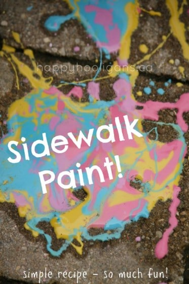 Homemade Sidewalk Paint Recipe with cornstarch water and food colour