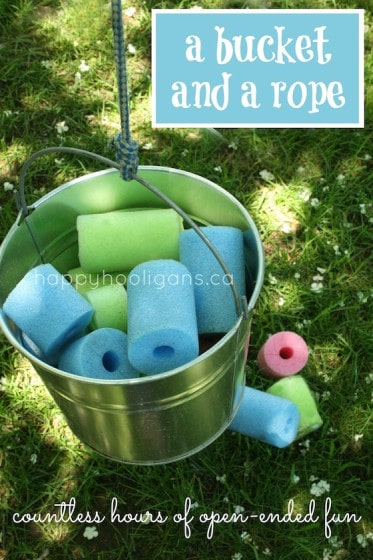 bucket and rope pulley contraption for toddlers and preschoolers