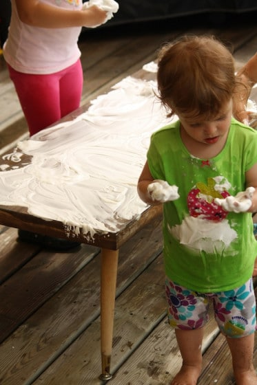 hands covered in shaving cream