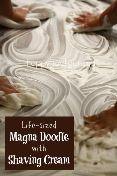 Giant magna doodle activity - shaving cream on a table top