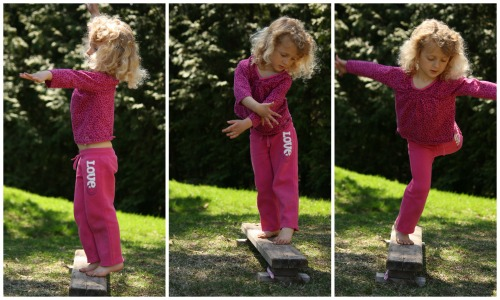 homemade balance beam for toddlers and preschoolers