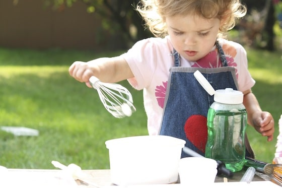 whisking soap bubbles