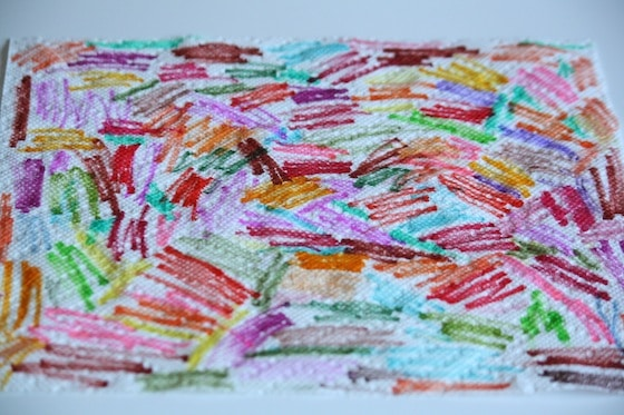 paper towel covered in marker scribbles