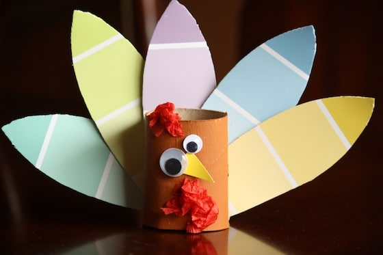 toilet roll turkey craft with paint chip samples