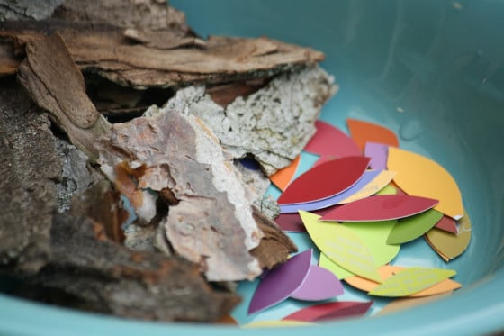 "a bowl of bark and paint chip ""leaves"""