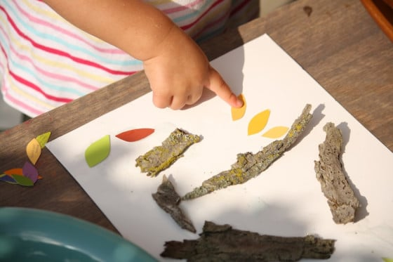 "gluing fall paint chip ""leaves"" to our project"