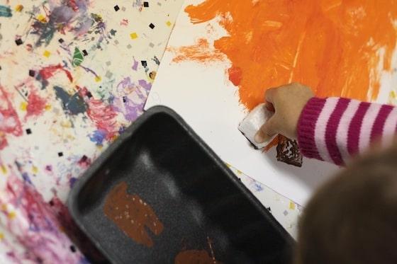 """stamping """"stems"""" onto pumpkin art"""
