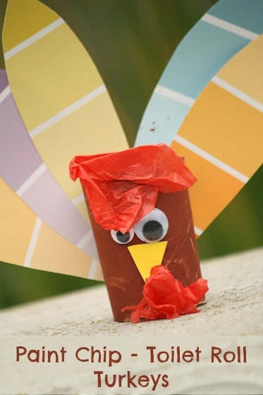 paint chip and toilet roll turkey craft for Thanksgiving