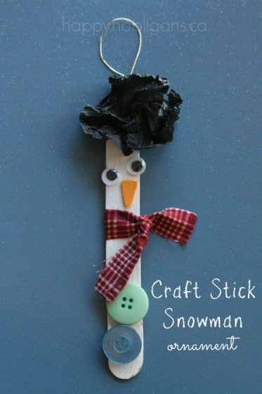 Popsicle Stick Snowman Christmas Tree Ornament
