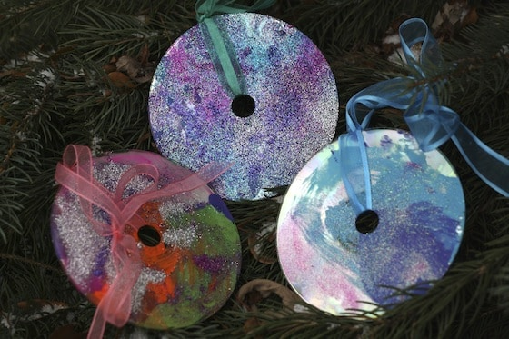 painted and glittered cd christmas ornaments