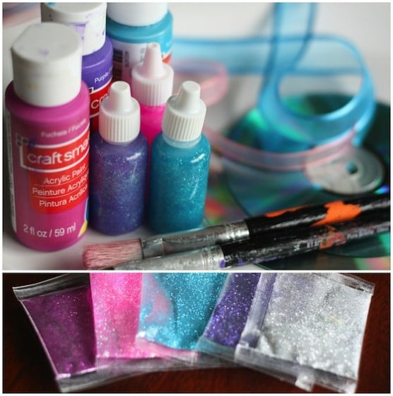 supplies for cd Christmas ornaments with paint and glitter