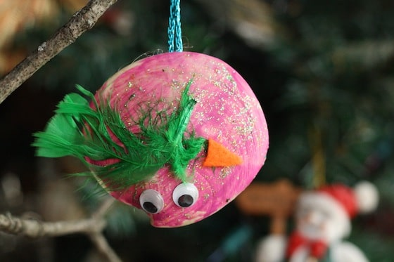 bird christmas ornament made from a seashell