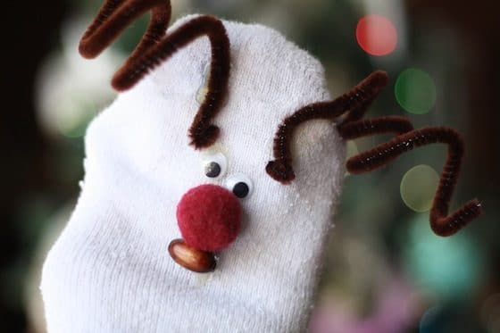 homemade reindeer sock puppet