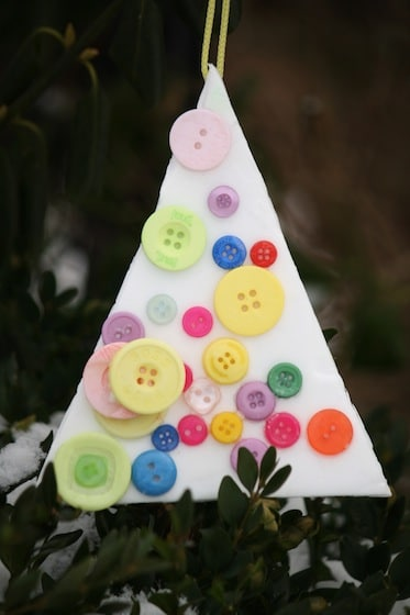 """Christmas Tree"" styrofoam button ornament made by toddler"