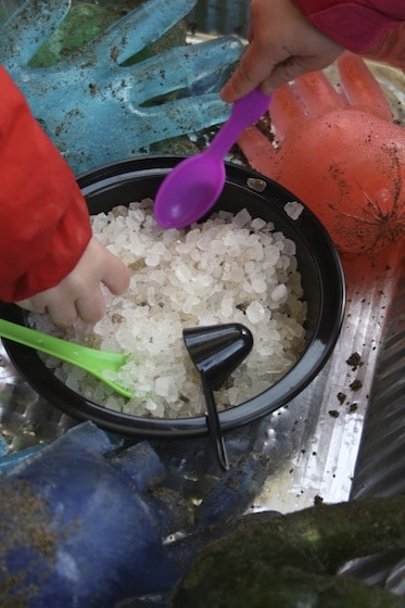 rock salt and icy hands for ice and salt activity for preschoolers
