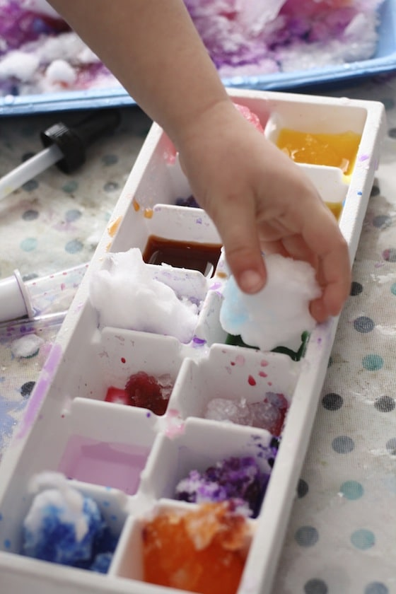 dropping snowballs into watercolour