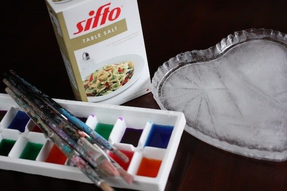 supplies for melting ice with salt and watercolours