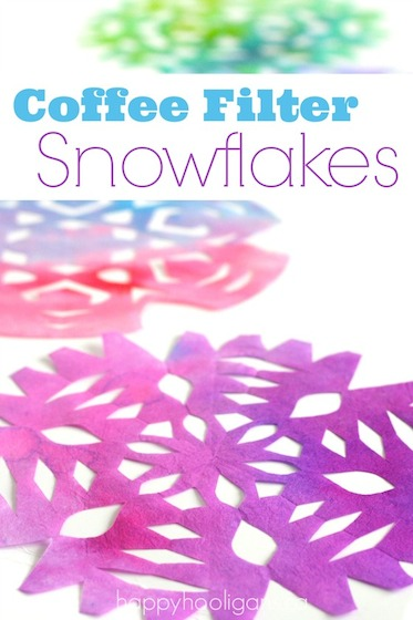 coloured coffee filter snowflakes