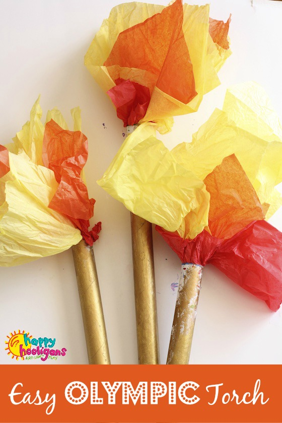Easy Olympic Torch Craft for Preschoolers - Happy Hooligans