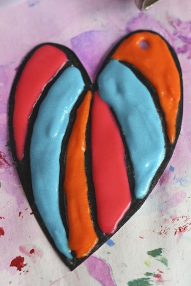 Puffy paint Valentines heart with coloured sections