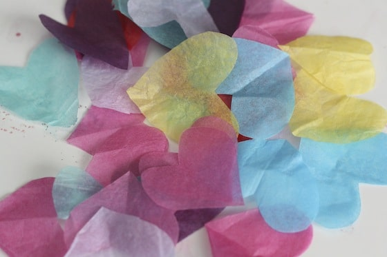 colourful tissue paper hearts for tissue paper stained glass window