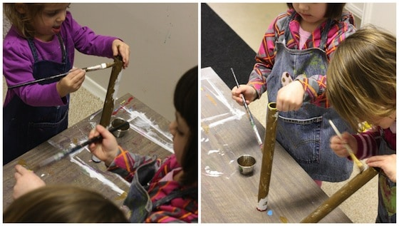 painting cardboard tubes to make Olympic torches