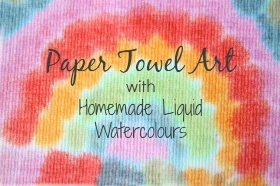toddler art project: watercolour rainbow on paper towel
