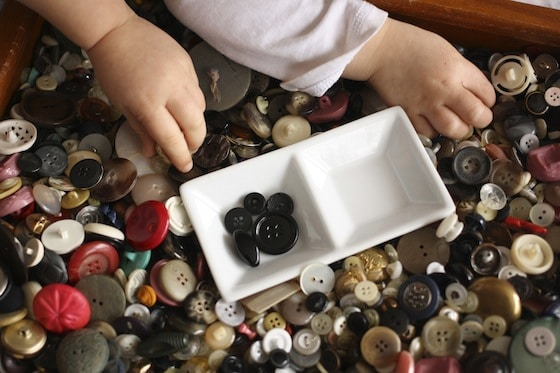 toddlers sorting black buttons for their ladybugs