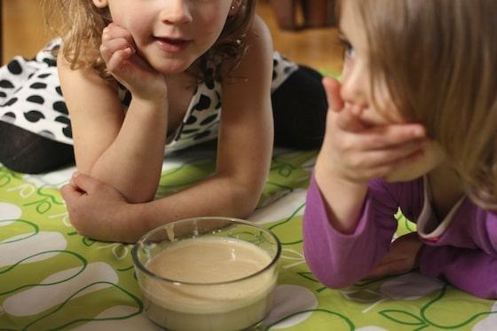 kids watching active yeast in warm water