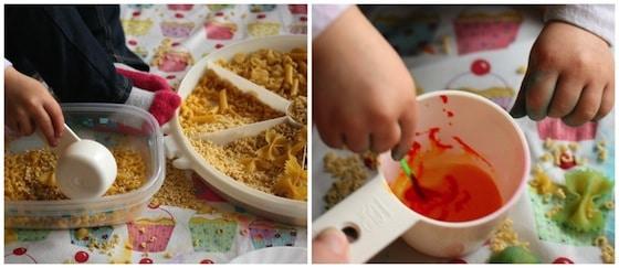 toddler dyeing pasta