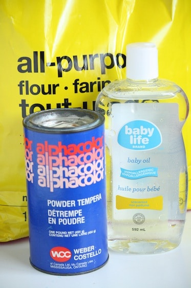 flour, baby oil and tempera paint powder