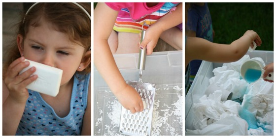 grating soap to make frozen clean mud