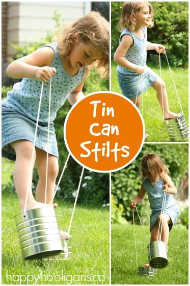 homemade tin can stilts