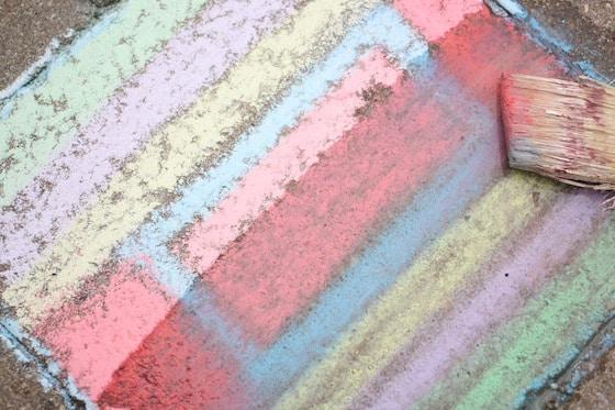 Wet sidewalk chalk painting