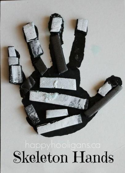 skeleton hand print art for halloween