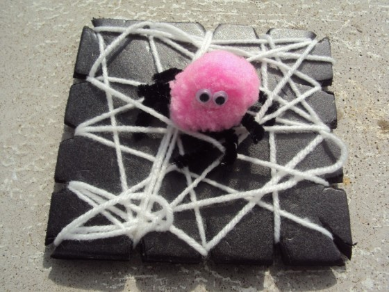 Pom Pom Spiders and Web weaving craft